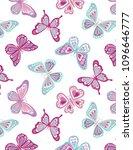 seamless folkloric butterfly... | Shutterstock .eps vector #1096646777