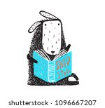 cute little sheep sitting with... | Shutterstock .eps vector #1096667207