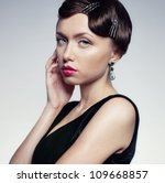 a girl in a black dress with...   Shutterstock . vector #109668857