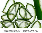 Fresh slices of Aloe Vera on white Background, studio shot - stock photo