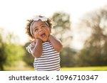 little girl with a cute... | Shutterstock . vector #1096710347