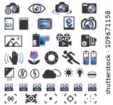 Camera Display Screen symbols - stock vector
