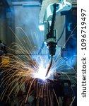 robot welding in automobile... | Shutterstock . vector #1096719497