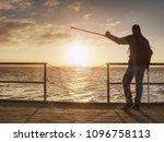 happy disabled man on bridge... | Shutterstock . vector #1096758113