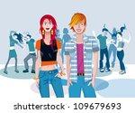 teenage caucasian couple... | Shutterstock .eps vector #109679693