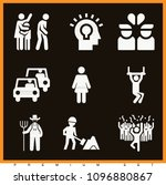 set of 9 people filled icons... | Shutterstock .eps vector #1096880867