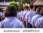 hight school students stand in... | Shutterstock . vector #1096892513