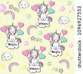 beautiful unicorn seamless... | Shutterstock .eps vector #1096927553