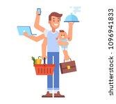 multitasking man. super dad  ...   Shutterstock .eps vector #1096941833