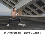 fitness woman training outdoors ... | Shutterstock . vector #1096962857