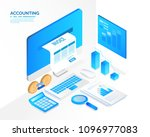 accounting system  isometric... | Shutterstock .eps vector #1096977083