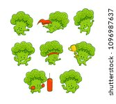 cheerful broccoli characters... | Shutterstock .eps vector #1096987637