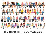 set of sitting people  flat... | Shutterstock .eps vector #1097021213