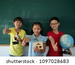 three student standing over... | Shutterstock . vector #1097028683