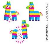 cute colorful cartoon pinata.... | Shutterstock .eps vector #1097067713