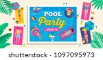 top view beach background  pool ... | Shutterstock .eps vector #1097095973