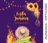 festa junina watercolor vector... | Shutterstock .eps vector #1097112683