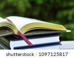book with open empty golden... | Shutterstock . vector #1097125817