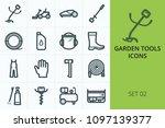 garden tools icons set. set of... | Shutterstock .eps vector #1097139377