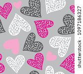 seamless pattern with hearts...   Shutterstock .eps vector #1097186327