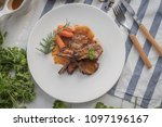 lamb steak on white plate  rack ... | Shutterstock . vector #1097196167