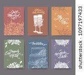 set of 6 wedding cards based on ... | Shutterstock .eps vector #1097197433