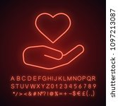 charity neon light icon. heart...   Shutterstock .eps vector #1097213087