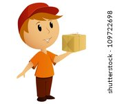Cartoon delivery boy with package. Vector illustration. - stock vector