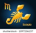 gold scorpio zodiac astrology... | Shutterstock .eps vector #1097236157