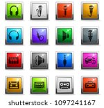 musical web icons in square... | Shutterstock .eps vector #1097241167