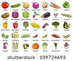 collection of 35 vegetables... | Shutterstock .eps vector #109724693