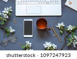 work space flat lay with a... | Shutterstock . vector #1097247923