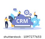 crm concept design with vector... | Shutterstock .eps vector #1097277653