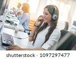 customer service operator woman ... | Shutterstock . vector #1097297477