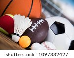 assorted sports equipment | Shutterstock . vector #1097332427