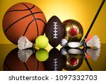 assorted sports equipment | Shutterstock . vector #1097332703