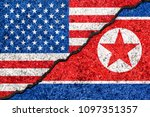 flags of north korea and usa... | Shutterstock . vector #1097351357