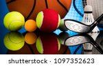 assorted sports equipment | Shutterstock . vector #1097352623