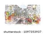 edinburgh castle is a historic... | Shutterstock .eps vector #1097353937