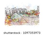 edinburgh castle is a historic... | Shutterstock .eps vector #1097353973
