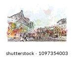 edinburgh castle is a historic... | Shutterstock .eps vector #1097354003