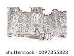 edinburgh castle is a historic... | Shutterstock .eps vector #1097355323