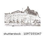 edinburgh castle is a historic... | Shutterstock .eps vector #1097355347