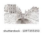 edinburgh castle is a historic... | Shutterstock .eps vector #1097355353