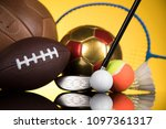 assorted sports equipment | Shutterstock . vector #1097361317