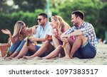 summer time. young couples on... | Shutterstock . vector #1097383517
