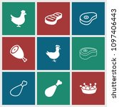 roast icon. collection of 9... | Shutterstock .eps vector #1097406443