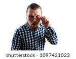 young man confused   Shutterstock . vector #1097421023
