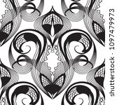 damask lace black and white... | Shutterstock .eps vector #1097479973