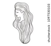 beautiful woman with long hair | Shutterstock .eps vector #1097530103